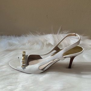 Michael Kors Size 9 m White And Gold Heels